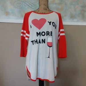 WILDFO Small Raglan Red White Wine tunic top